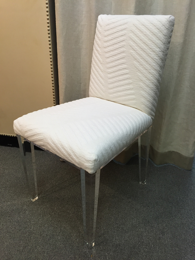 FULL UPHOLSTERED ACRYLIC SIDE CHAIR