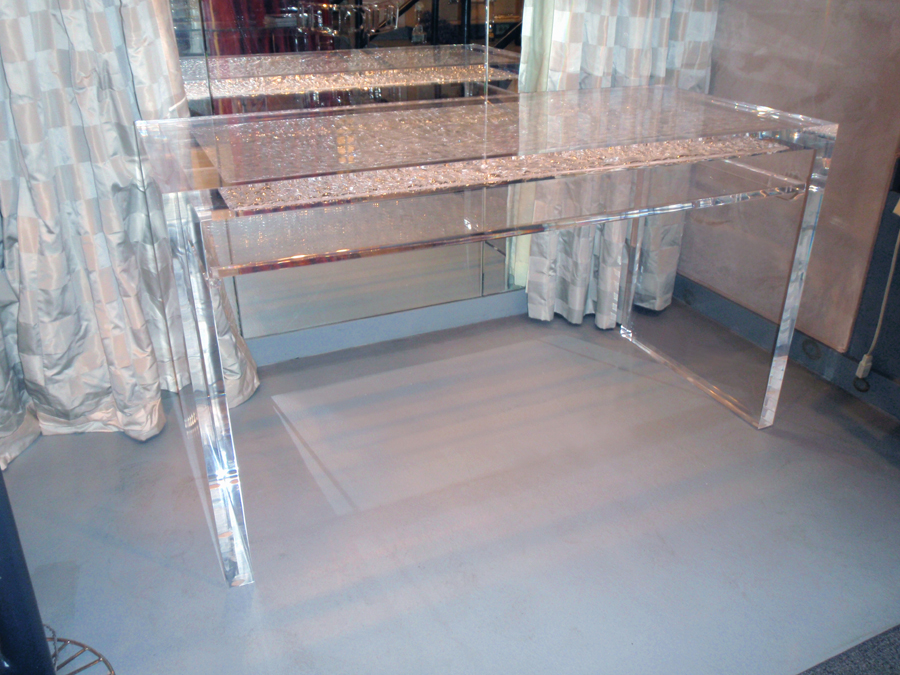 ICE (CRACKLE-TEXTURED) ACRYLIC DESK WITH SHELF