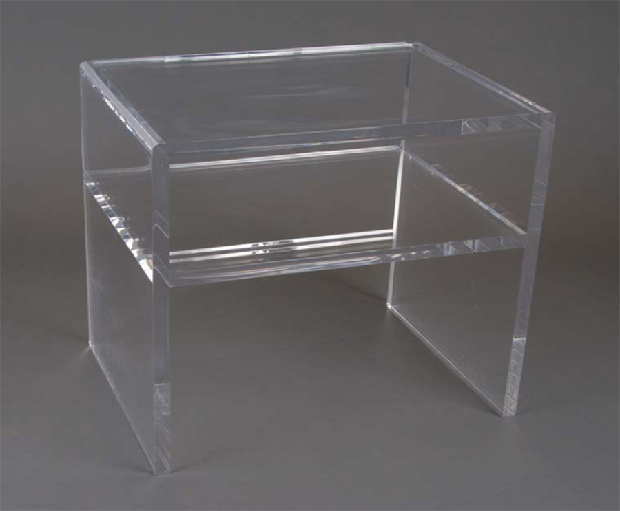 SIMPLE ACRYLIC SIDE TABLE WITH ONE SHELF
