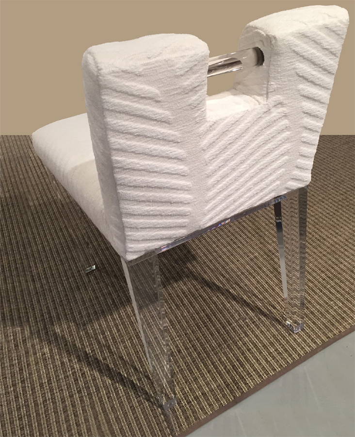 ACRYLIC HANDLE BACK VANITY CHAIR